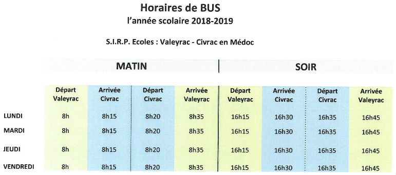 horaires bus scolaire ecoles valeyrac civrac 2018 2019