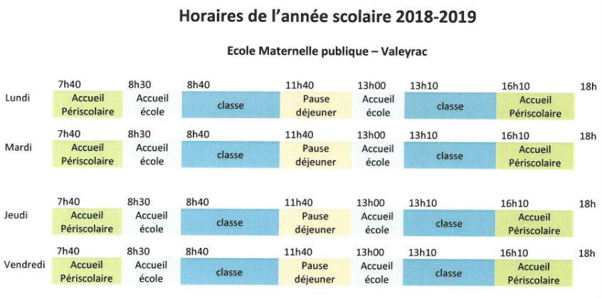 horaires école Valeyrac 2018 2019